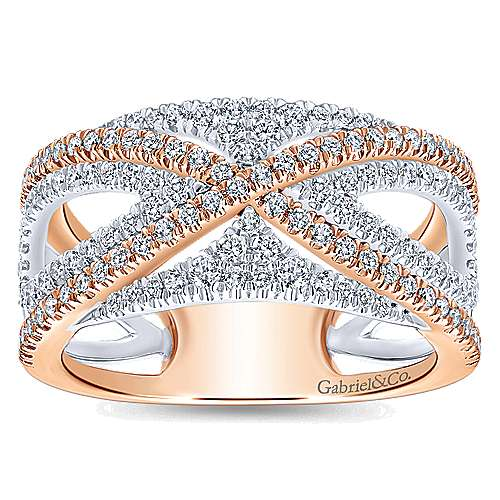 14k white and rose gold contemporary fancy anniversary band angle 5 - Fancy Wedding Rings