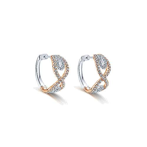 14k White And Rose Gold Contemporary Huggie Earrings