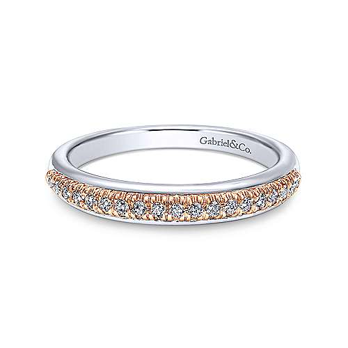 Gabriel - 14k White And Rose Gold Contemporary Straight Wedding Band