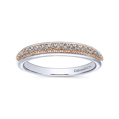 14k White And Rose Gold Contemporary Straight Wedding Band