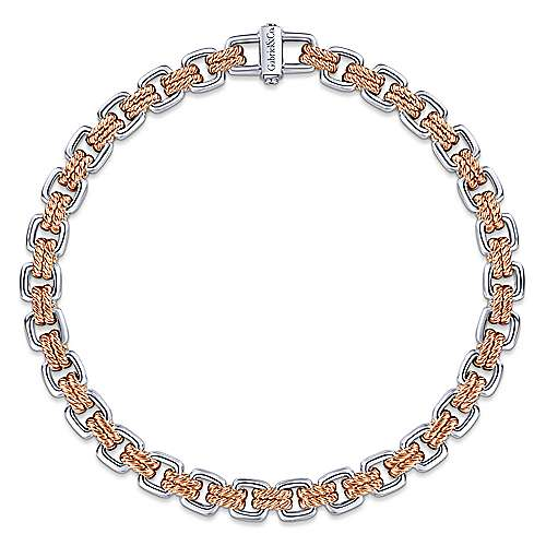 14k White And Rose Gold Contemporary Tennis Bracelet
