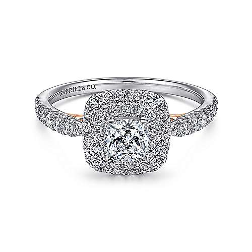 Gabriel - 14k White And Rose Gold Cushion Cut Double Halo Engagement Ring