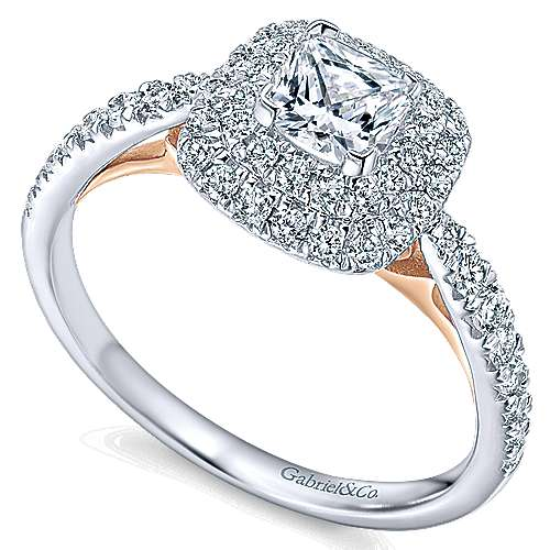 14k White And Rose Gold Cushion Cut Double Halo Engagement Ring angle 3