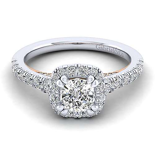Gabriel - 14k White And Rose Gold Cushion Cut Halo Engagement Ring