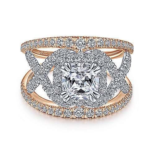 Gabriel - 14k White And Rose Gold Cushion Cut Split Shank Engagement Ring