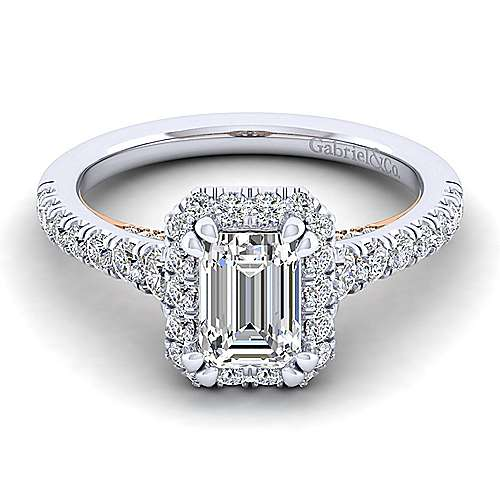 Gabriel - 14k White And Rose Gold Emerald Cut Halo Engagement Ring