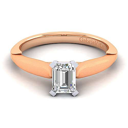 14k White And Rose Gold Emerald Cut Solitaire Engagement Ring