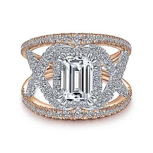 Gabriel - 14k White And Rose Gold Emerald Cut Split Shank Engagement Ring