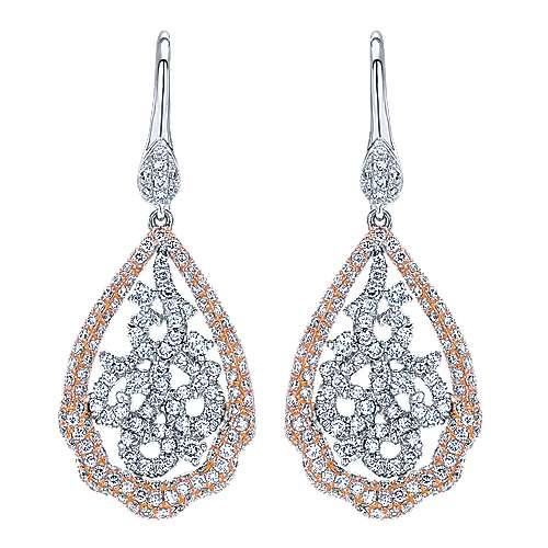 Gabriel - 14k White And Rose Gold Flirtation Drop Earrings