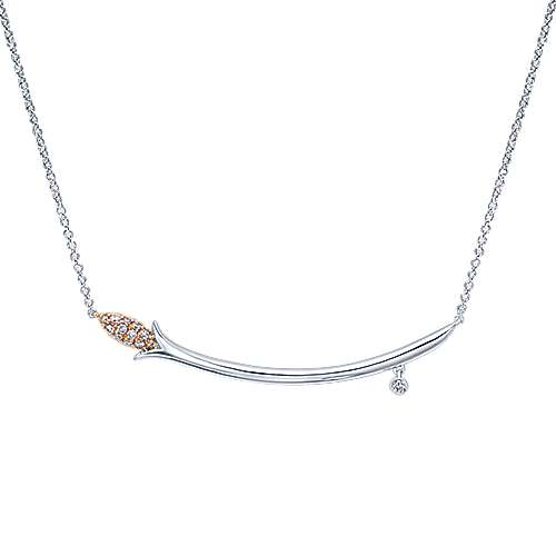 14k White And Rose Gold Floral Bar Necklace
