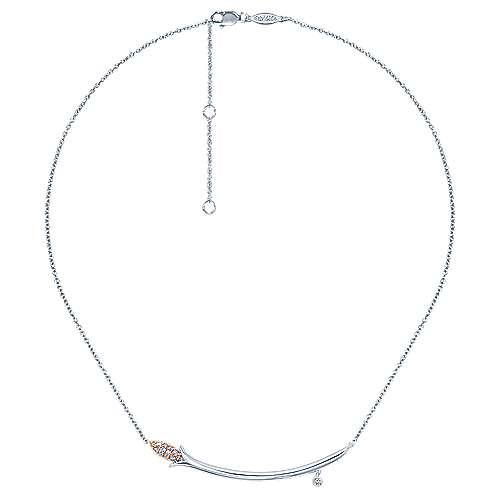 14k White And Rose Gold Floral Bar Necklace angle 2