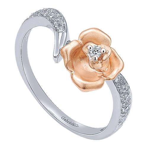14k White And Rose Gold Floral Fashion Ladies' Ring angle 3