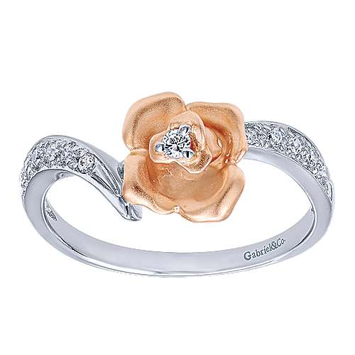 14k White And Rose Gold Floral Fashion Ladies' Ring angle 4