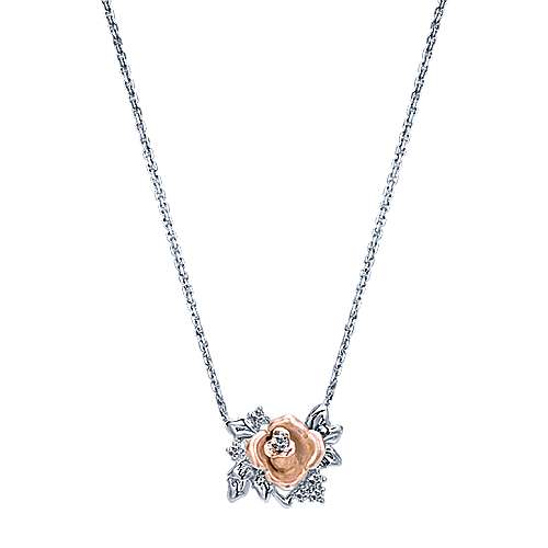 Gabriel - 14k White And Rose Gold Floral Fashion Necklace