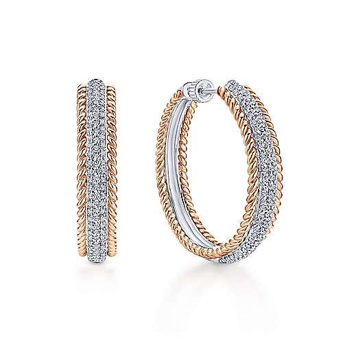 14k White And Rose Gold Hampton Classic Hoop Earrings angle 1