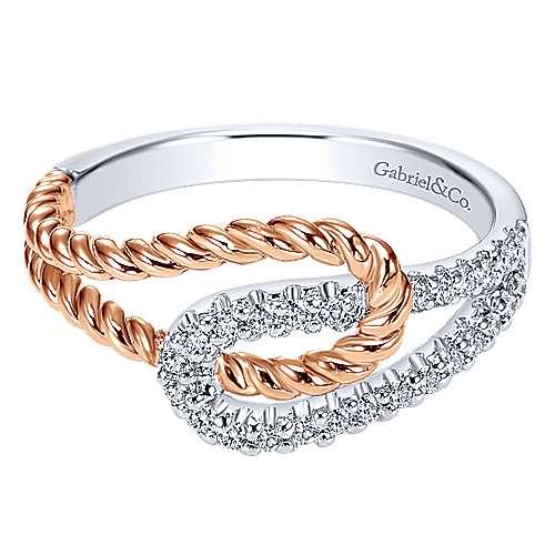 Gabriel - 14k White And Rose Gold Hampton Twisted Ladies' Ring