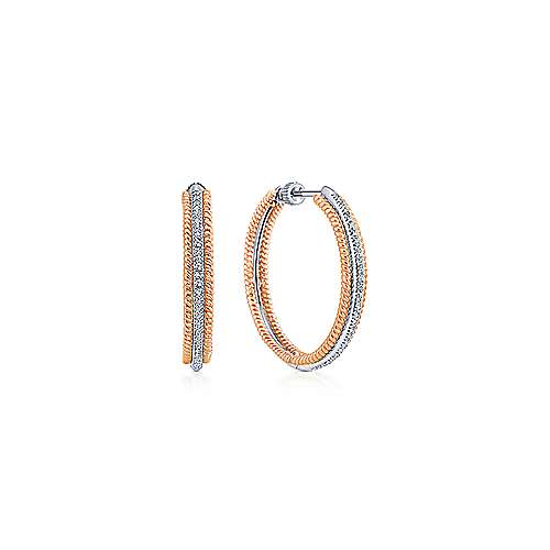Gabriel - 14k White And Rose Gold Hoops Classic Hoop Earrings