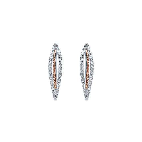 14k White And Rose Gold Hoops Intricate Hoop Earrings angle 3