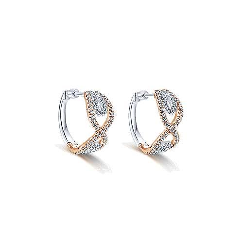 Gabriel - 14k White And Rose Gold Huggies Huggie Earrings
