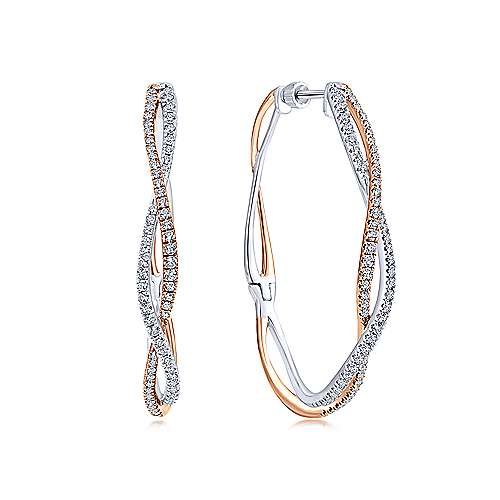 14k White And Rose Gold Lusso Classic Hoop Earrings