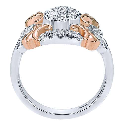 14k White And Rose Gold Lusso Classic Ladies' Ring angle 2