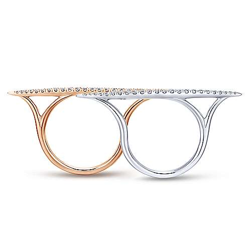 14k White And Rose Gold Lusso Diamond Double Ring Ladies' Ring angle 2