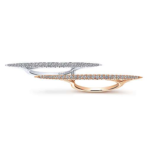 14k White And Rose Gold Lusso Diamond Double Ring Ladies' Ring angle 4