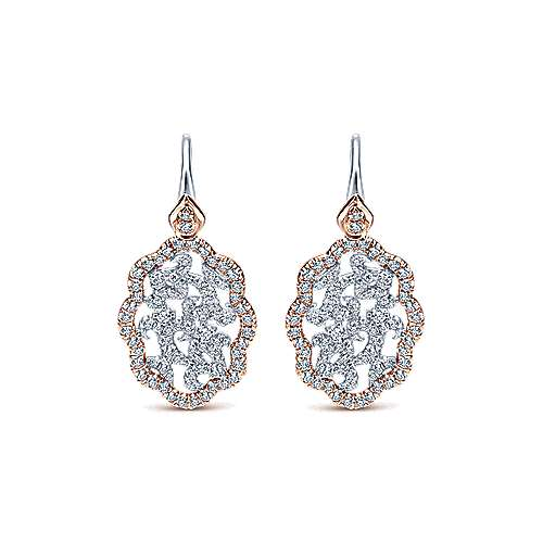 Gabriel - 14k White And Rose Gold Lusso Diamond Drop Earrings