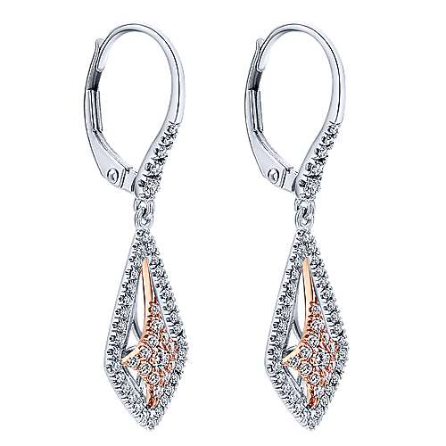 14k White And Rose Gold Lusso Diamond Drop Earrings angle 2