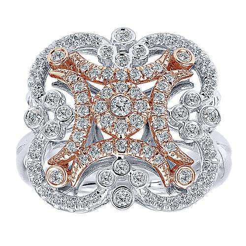 14k White And Rose Gold Lusso Diamond Fashion Ladies' Ring angle 4