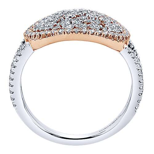 14k White And Rose Gold Lusso Diamond Fashion Ladies' Ring angle 2