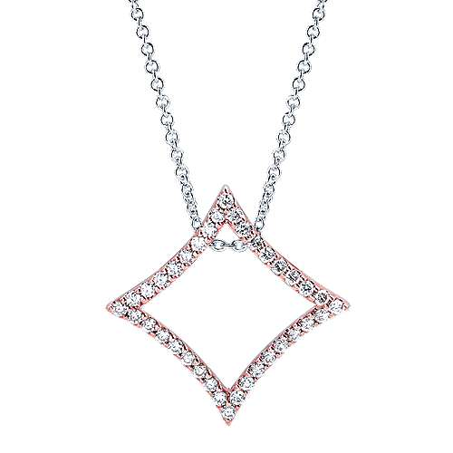 14k White And Rose Gold Lusso Diamond Fashion Necklace angle 1