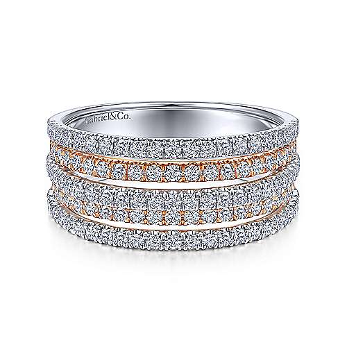 14k White And Rose Gold Lusso Diamond Wide Band Ladies' Ring angle 1