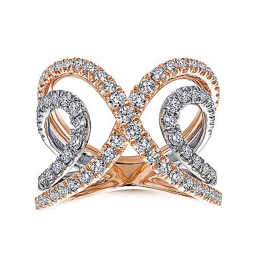 14k White And Rose Gold Lusso Diamond Wide Band Ladies' Ring angle 4
