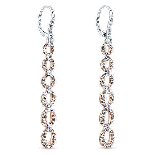 14k White And Rose Gold Lusso Drop Earrings angle 2