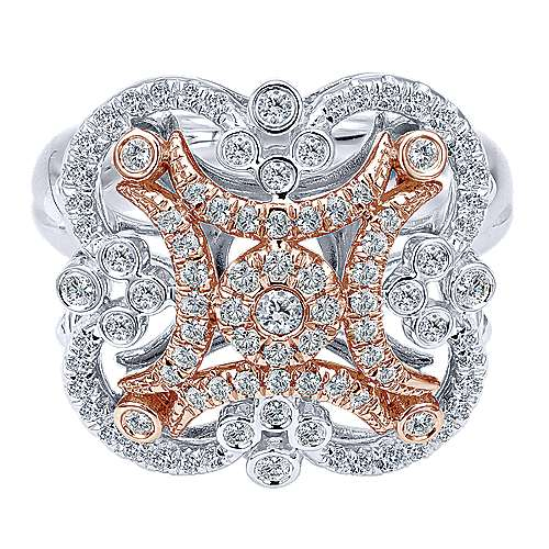 14k White And Rose Gold Lusso Fashion Ladies' Ring angle 1