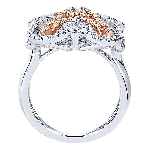 14k White And Rose Gold Lusso Fashion Ladies' Ring angle 2
