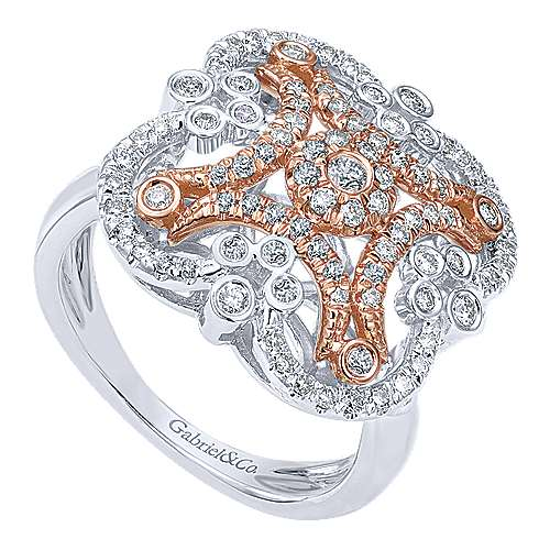 14k White And Rose Gold Lusso Fashion Ladies' Ring angle 3