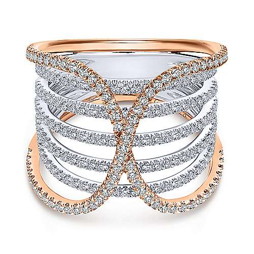 14k White And Rose Gold Lusso Wide Band Ladies' Ring angle 1