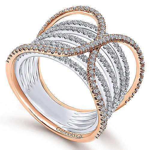 14k White And Rose Gold Lusso Wide Band Ladies' Ring angle 3