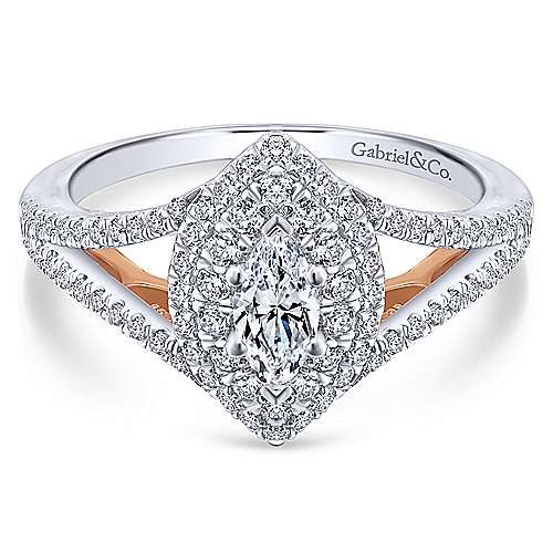 Gabriel - 14k White And Rose Gold Marquise  Double Halo Engagement Ring