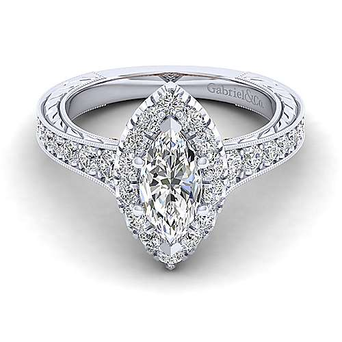 Gabriel - 14k White And Rose Gold Marquise  Halo Engagement Ring
