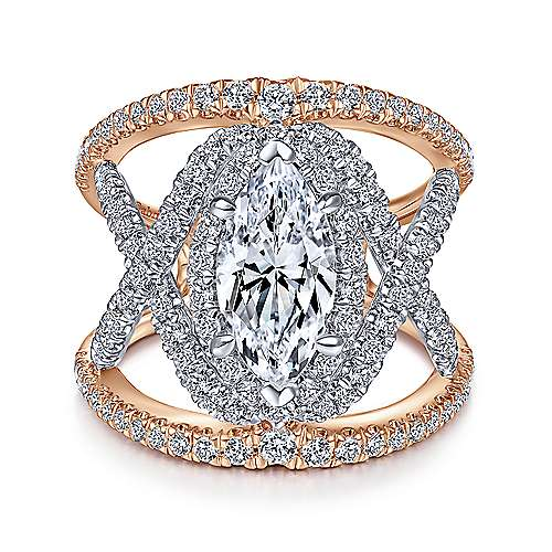 Gabriel - 14k White And Rose Gold Marquise  Split Shank Engagement Ring
