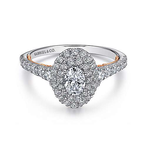 Gabriel - 14k White And Rose Gold Oval Double Halo Engagement Ring