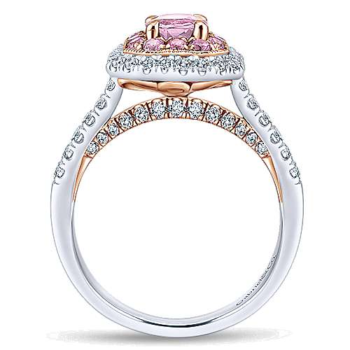 14k White And Rose Gold Oval Double Halo Engagement Ring angle 2