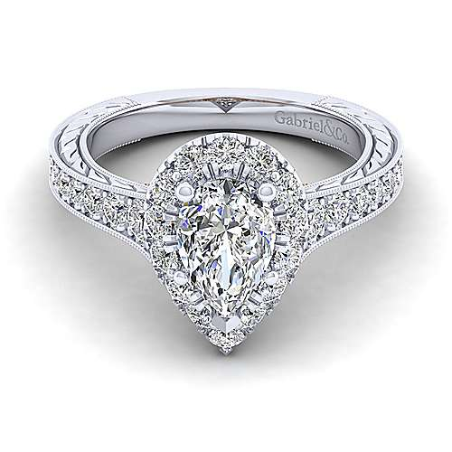 Gabriel - 14k White And Rose Gold Pear Shape Halo Engagement Ring