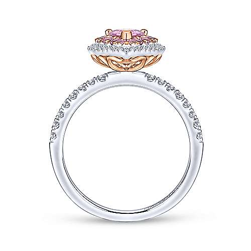 14k White And Rose Gold Pear Shape Halo Engagement Ring angle 2