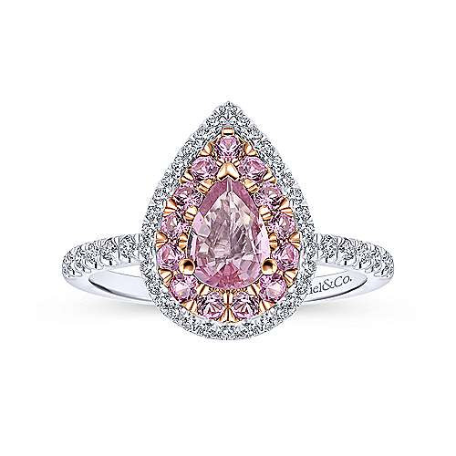14k White And Rose Gold Pear Shape Halo Engagement Ring angle 5