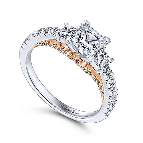 14k White And Rose Gold Princess Cut 3 Stones Engagement Ring angle 3