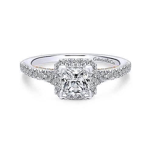 Gabriel - 14k White And Rose Gold Princess Cut Halo Engagement Ring